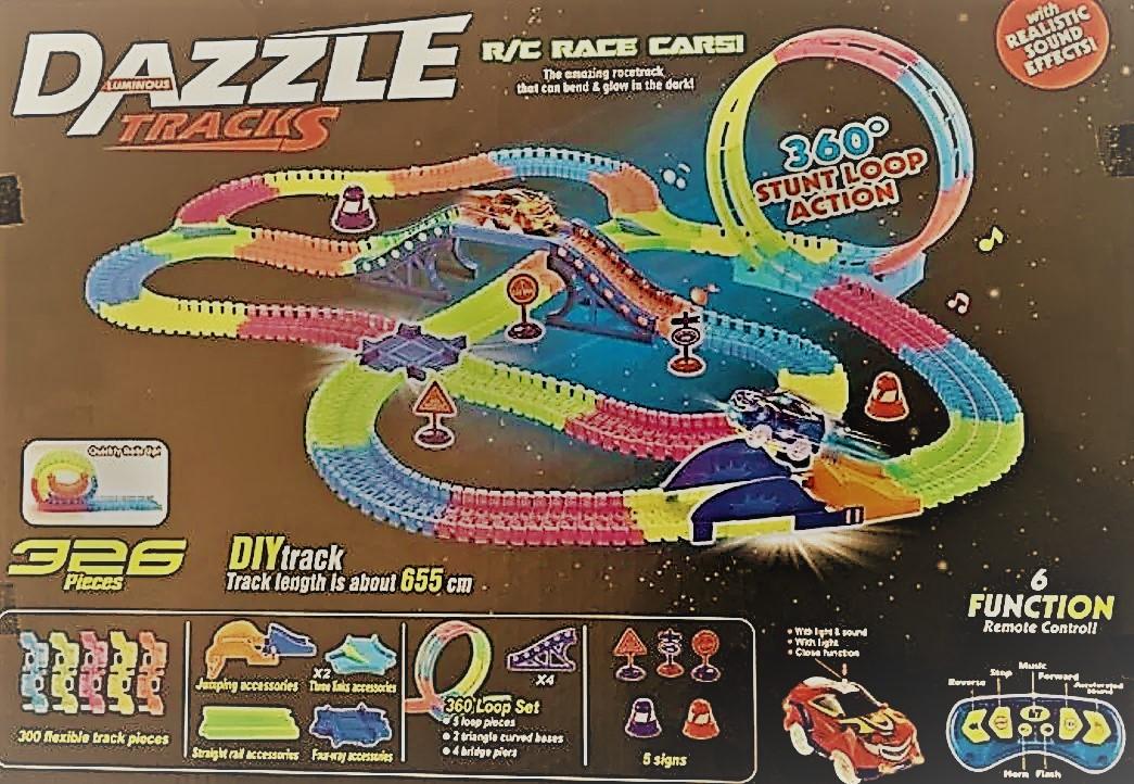 DazzleTracks 326 деталей. Гибкая игрушечная дорога,одна машинка с пультом дистанционного управления.
