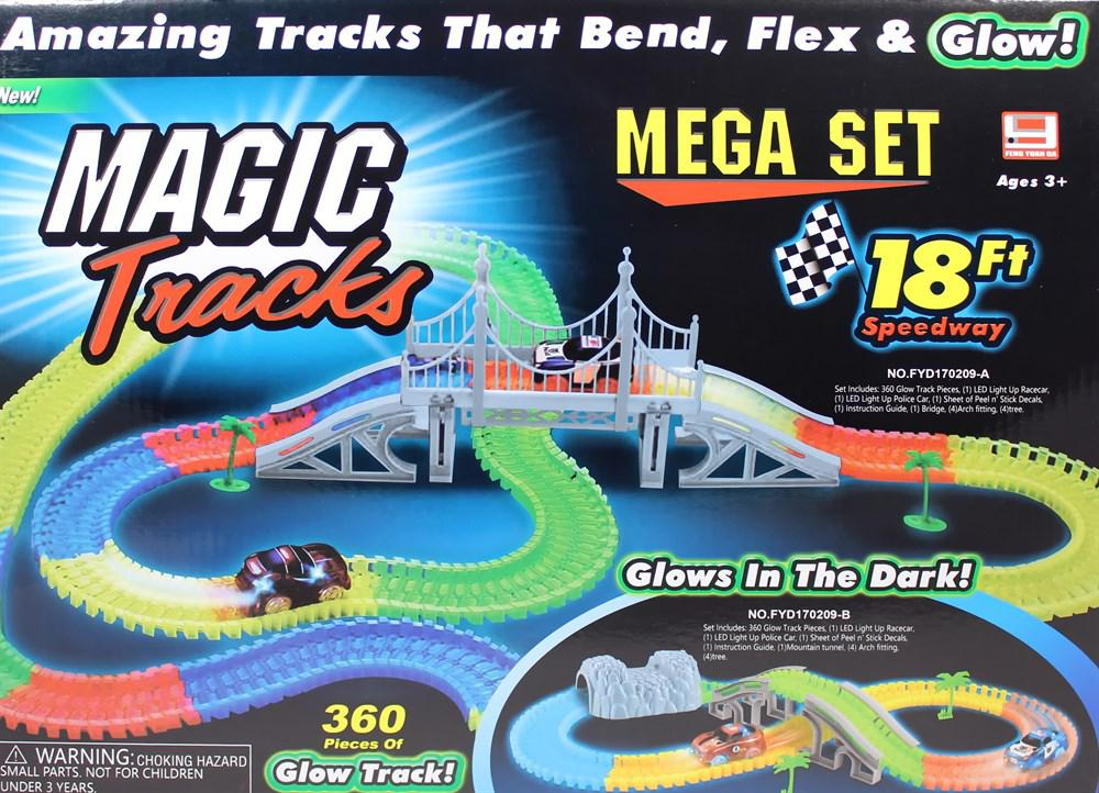 Мэджик Трек Magic Tracks - 360 деталей с мостом и 2 гоночные машинки и перекресток