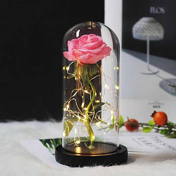 Роза в колбе с LED подсветкойбольшая розовая №А78