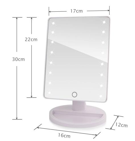 Настольное зеркало для макияжа с LED подсветкой 22 светодиода белое