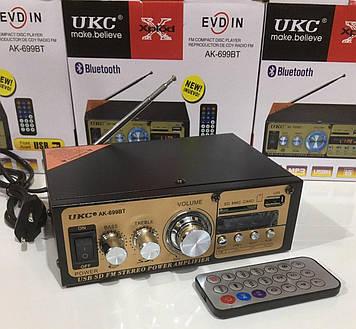Усилитель звука UKC AK-699BT – двухканальный интегральный с ДУ пультом, MP3, USB, Micro SD, FM