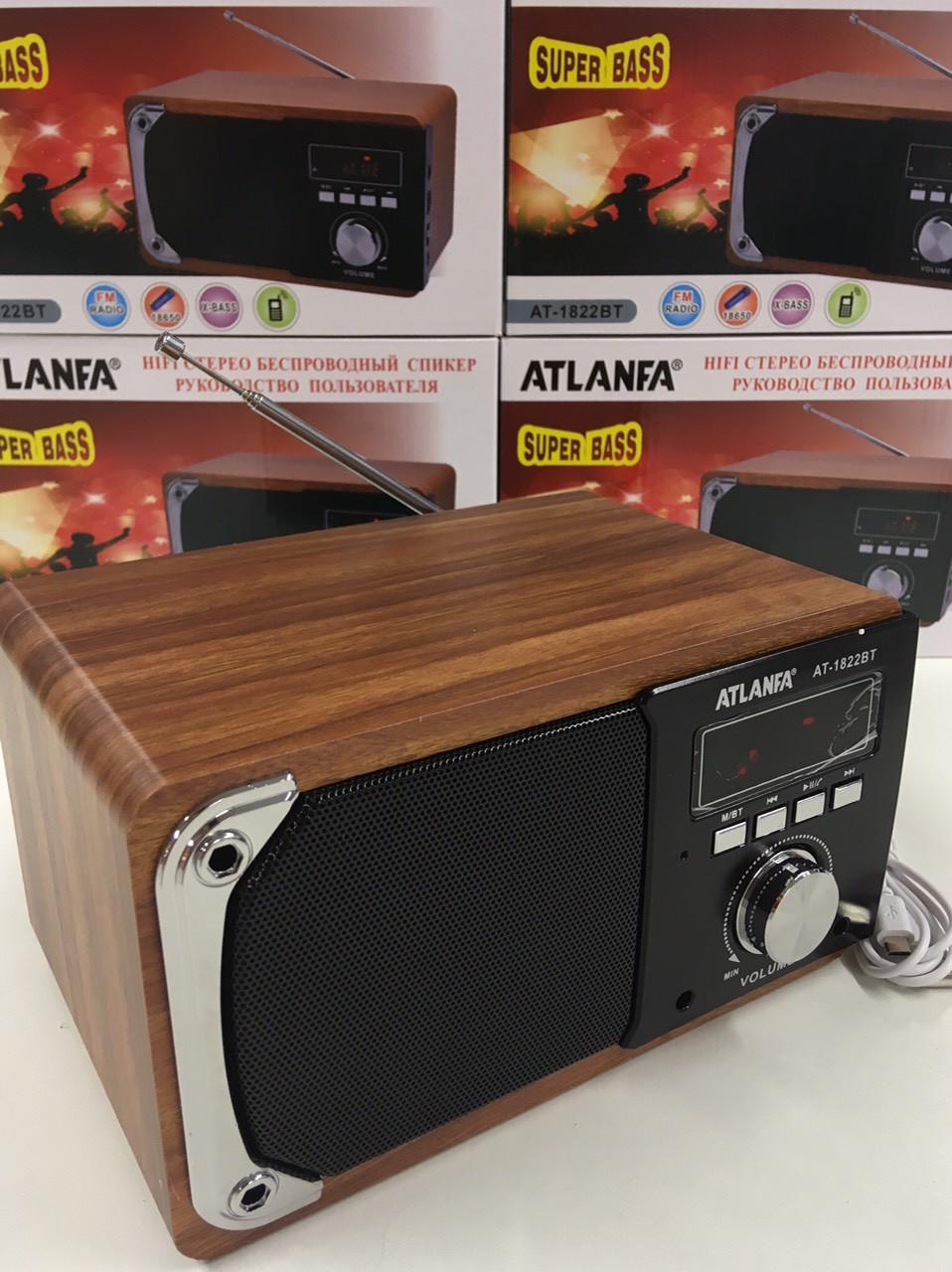 Портативная акустическая колонка Atlanfa AT-1822ВТ, FM, 6W, Super Bass speaker AUX bluetooth MP3 microSD/TF