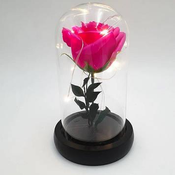 Роза в колбе с LED подсветкоймаленькая розовая №А51
