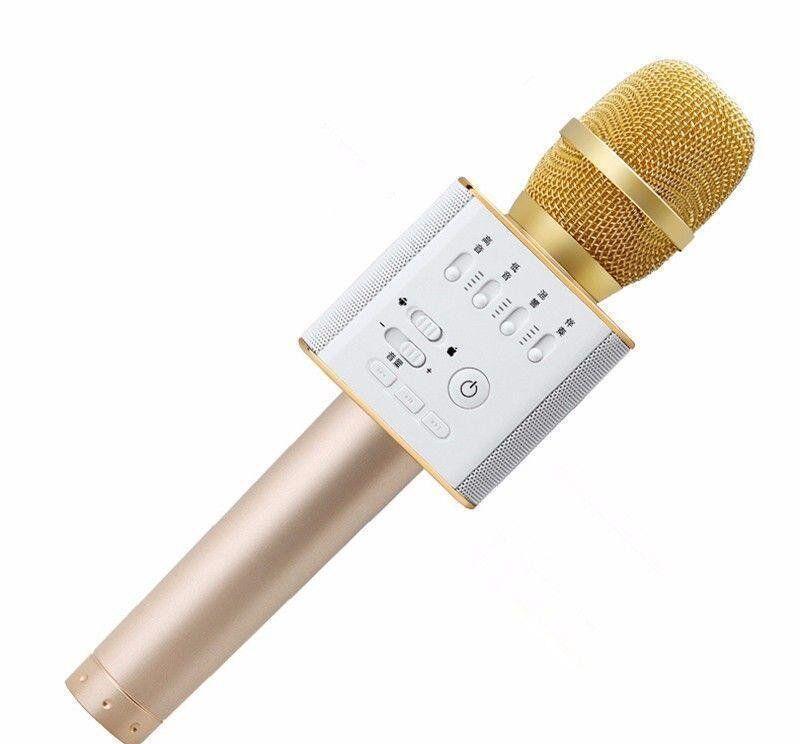 Микрофон караоке Q9 MK портативный беспроводной с динамиком и чехлом золото