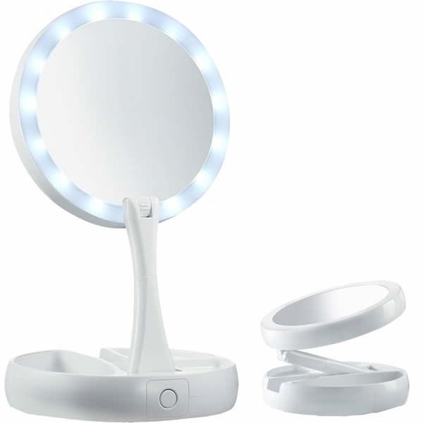 Складное зеркало для макияжа с Led подсветкой круглое My Fold Away Mirror White