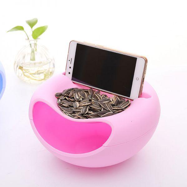 Миска-подставка для телефона и для семечек, орехов, различных снэков розовая