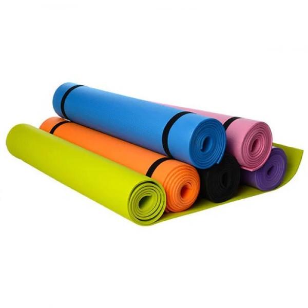Коврик для фитнеса и йоги 173х61 см толщина 4 мм (6 цветов)