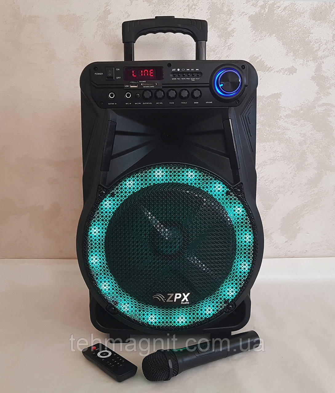 Колонка аккумуляторная с микрофоном ZPX ZX-7771  350W (Bluetooth/USB/FM)