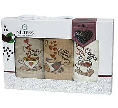 Набор кухонных полотенец Nilteks толстая упаковка Coffee 40*60 3 шт (ts-01517)