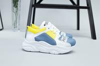 Белые кожаные кроссовки для девочки с голубыми и желтыми вставками