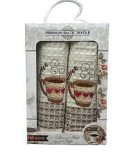 Набор кухонных полотенец Mercan вафельных Premium Baltic Textile Coffee Heart 50*70 2 шт (ts-6001046)