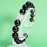 Турмалин черный, Ø10, 12 мм., серебро, браслет, 443БРТ, фото 2