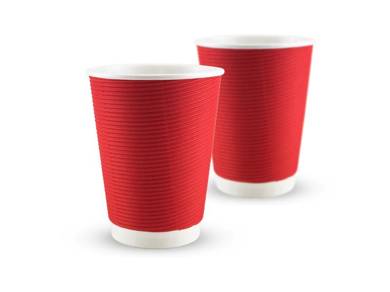 Гофростакан бумажный 340 мл, красный, 25 шт/рук., 875 шт/ящ.