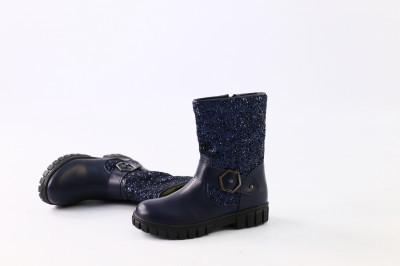 Зимние синие кожаные сапоги для девочки, 35