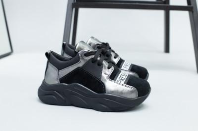 Кроссовки для девочки из замши и кожи, цвет черный и никель