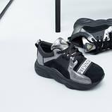 Кроссовки для девочки из замши и кожи, цвет черный и никель, фото 2