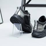Кроссовки для девочки из замши и кожи, цвет черный и никель, фото 3