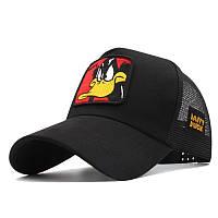 Кепка тракер Looney Tunes (Луни Тюнс) Даффи Дак Черный с сеточкой 2, Унисекс, фото 1