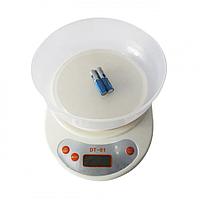 Кухонные электронный весы с чашей до 5 кг DT-01 Белые