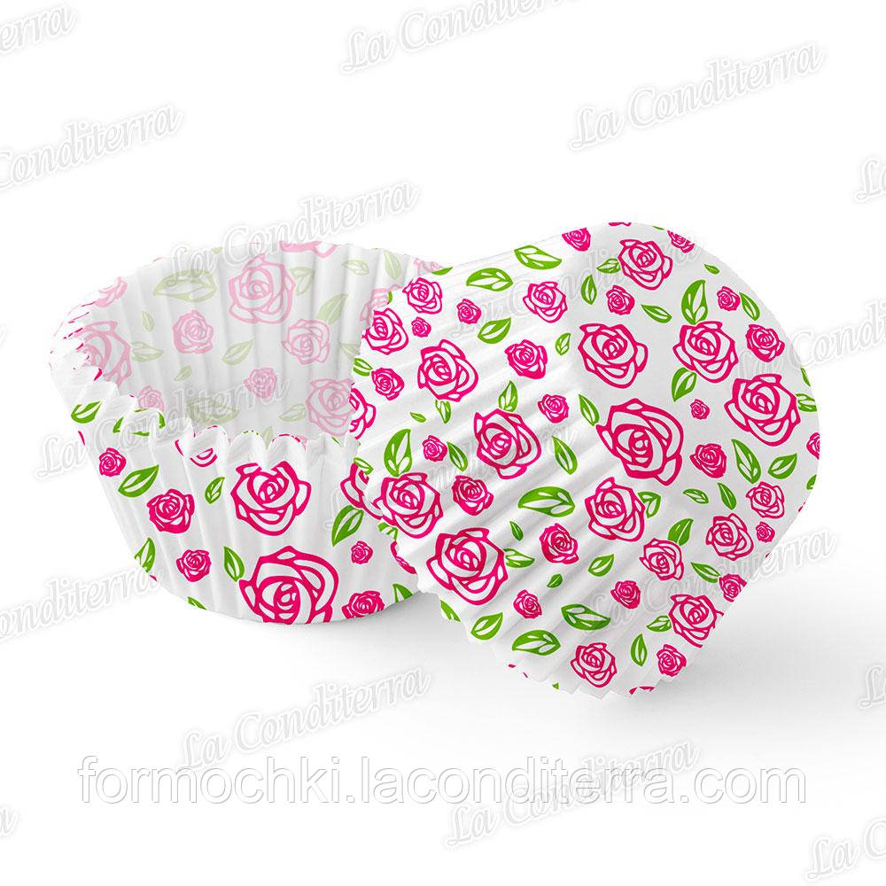 """Формочки для кексів з візерунком """"Троянда"""" 45г/м2 7a (Ш 50, бортик – 30 мм), 2000 шт."""
