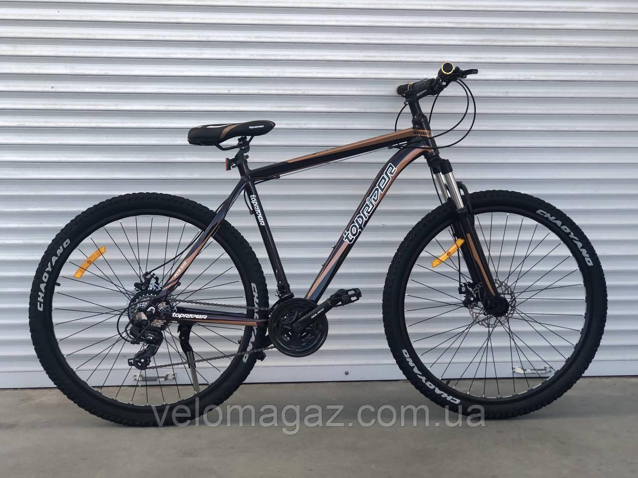 """Велосипед алюминиевый горный TopRider-901 29"""" рама 21"""", черно- коричневый"""