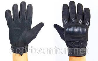 Перчатки мото и тактика  Oakley с защитой костяшек черные