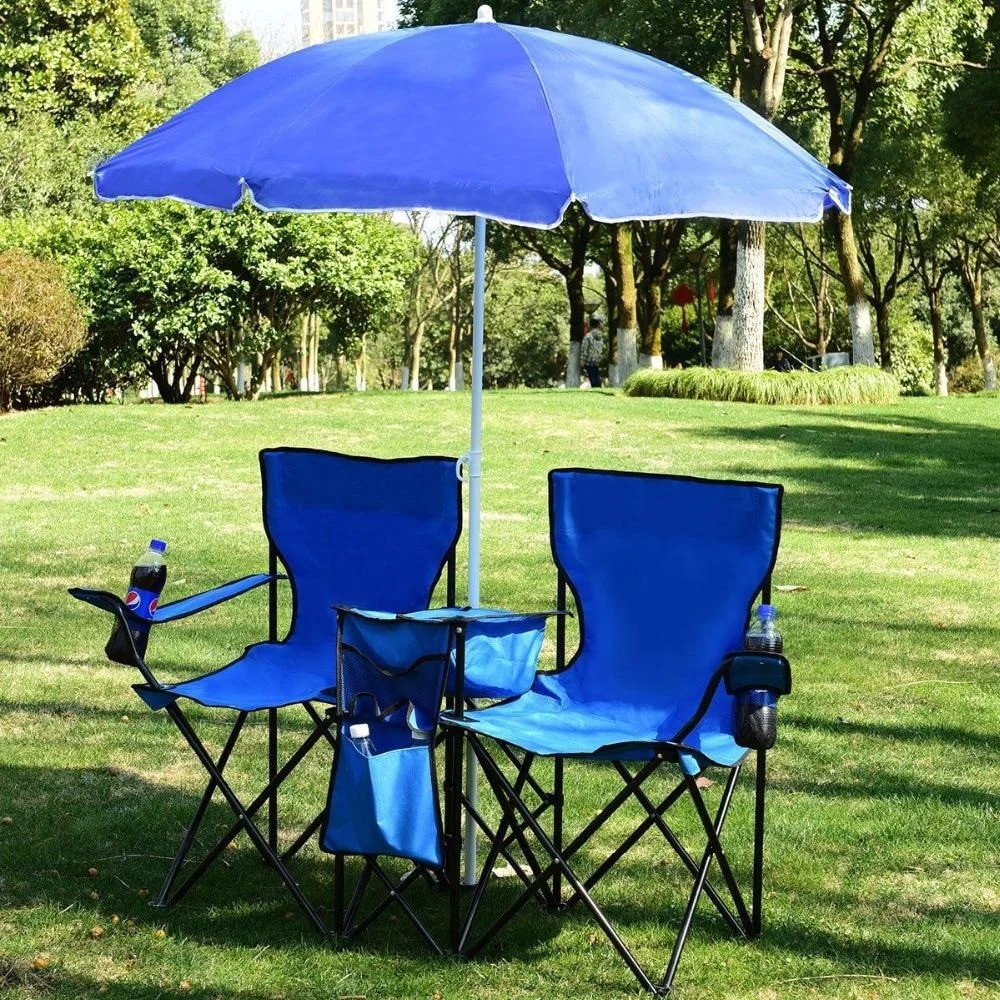 Великий пляжний садовий парасолька від сонця з нахилом синій, 1.6 м (пляжна парасолька) з оборкою