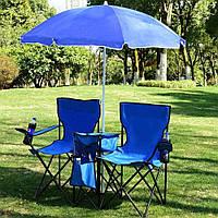 Великий пляжний садовий парасолька від сонця з нахилом синій, 1.6 м (пляжна парасолька) з оборкою, фото 1