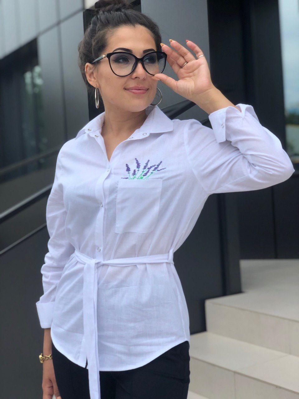 Рубашка белая женская с лавандой