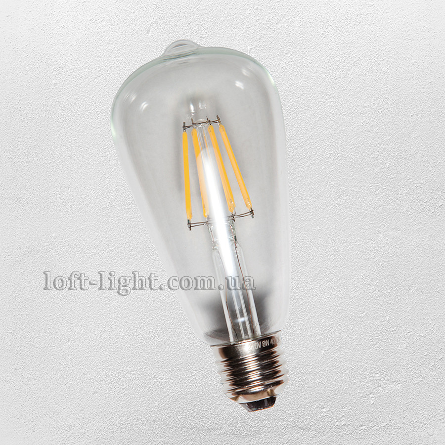 COW лампа Эдисона ST-64 LED  6W , 2700K Clear  DIMMABLE (диммируемая)