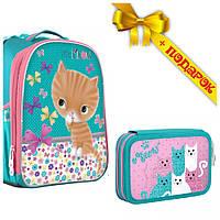 Рюкзак школьный каркасный 1B H-25 Cat, 35*26*16