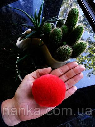 Искусственный помпон, имитация мех кролика, Красный, 6 см, фото 2