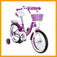"""Детский двухколесный городской велосипед 16"""" SW-17017-16 с корзинкой Фиолетовый"""