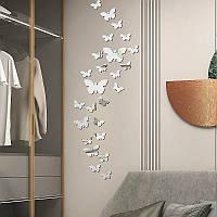"""Акриловые наклейка на стену, зеркальные наклейки пластиковые """"бабочки зеркальные 30шт набор серебро"""""""