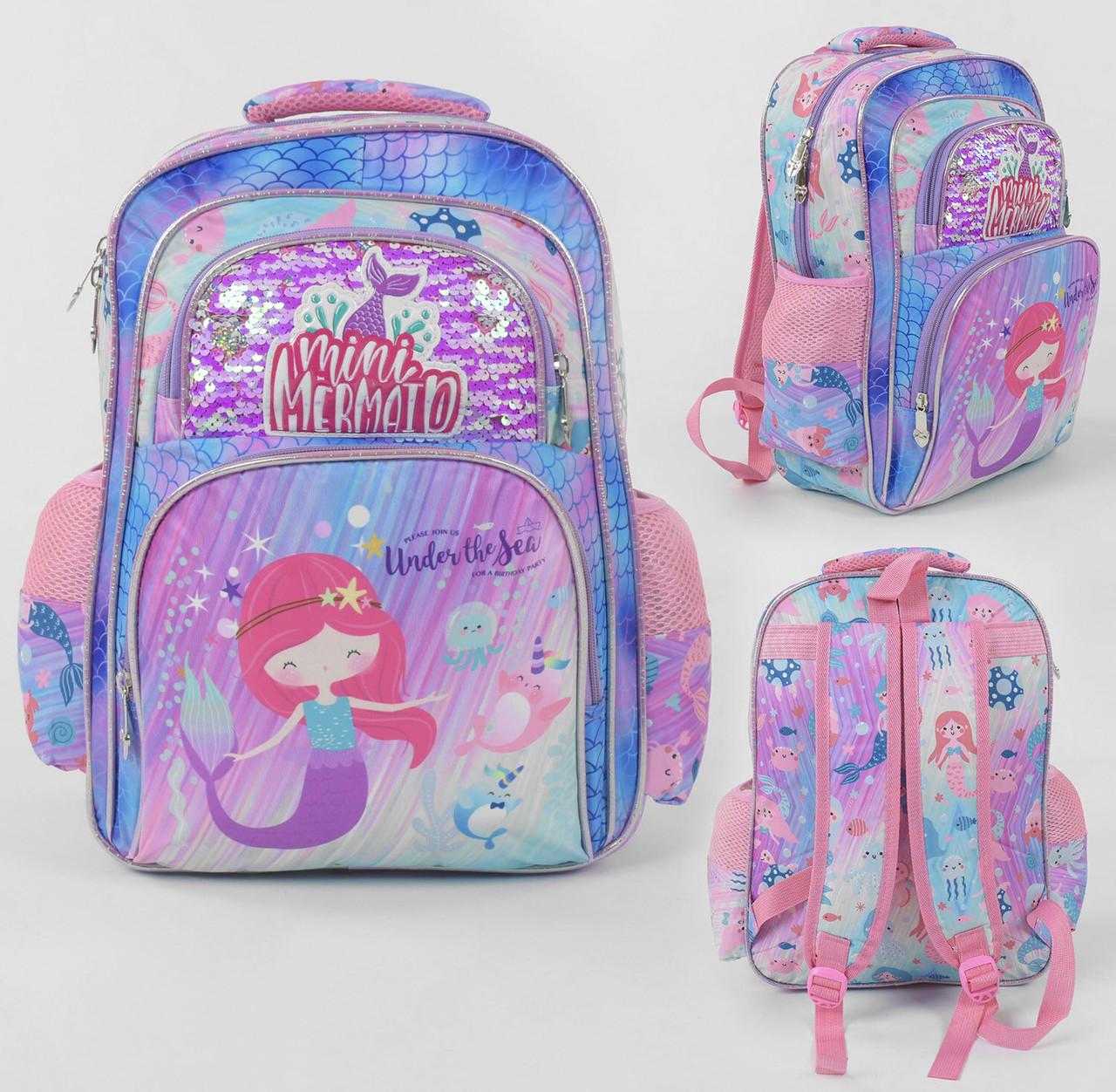 Рюкзак школьный пайетки, 1 отделение, 2 кармана, мягкая спинка, в пакете.