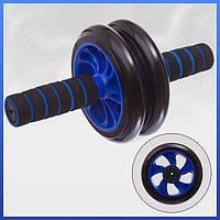 Тренажер-колесо для пресса двойное с ковриком, Фитнес колесо, Ролик для пресса (SV)
