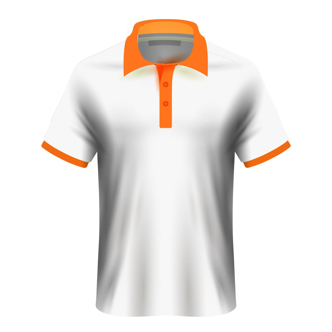 Чоловіча футболка поло для сублімації, білий/помаранчевий