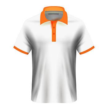 Мужская футболка поло для сублимации, белый/оранжевый