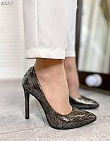 Шикарные кожаные туфли на шпильке 36-40 р рептилия, фото 1