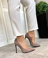 Шикарные замшевые туфли на шпильке 36-40 р визон, фото 1