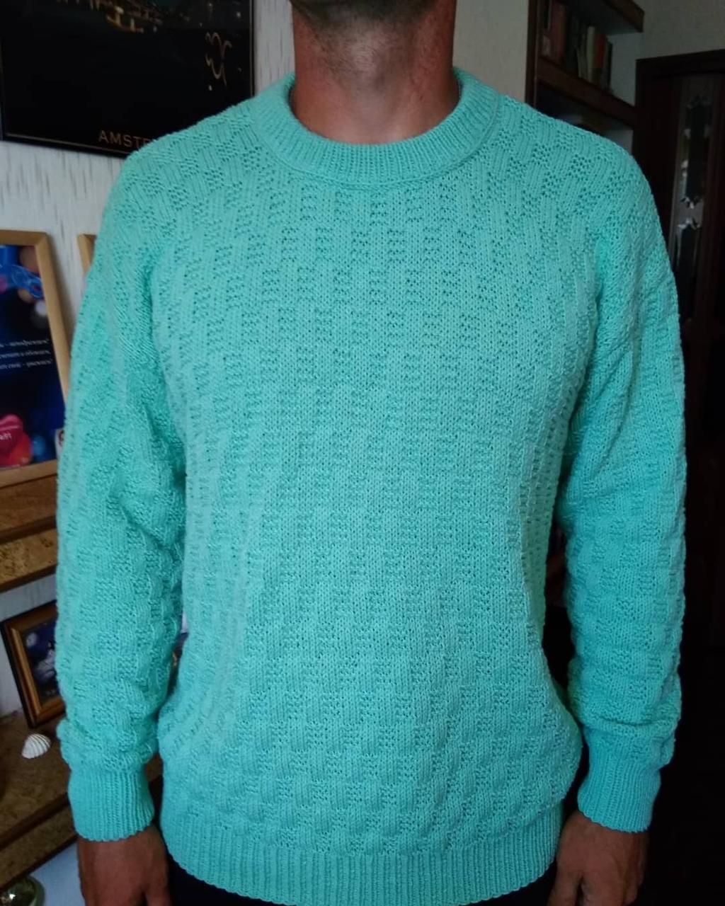 Вязаный свитер мужской бирюзовый, ручная работа