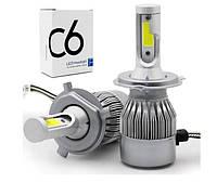 Автолампа LED C6 H7 белая. ВХОД ДВА УСИКА. LED лампа автомобильная. Лампочка для авто., фото 1
