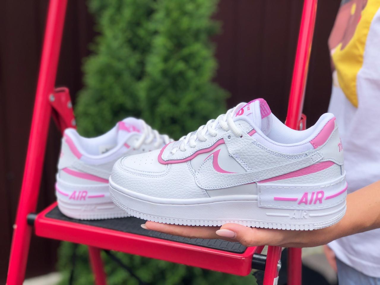Женские кроссовки Nike Air Force 1 Shadow, белые с розовым