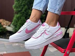 Женские кроссовки Nike Air Force 1 Shadow, белые с розовым, фото 3