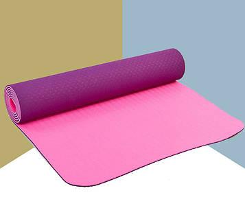 Йога мат (коврик для фитнеса и йоги) Плотный спортивный коврик (каремат) yoga mat