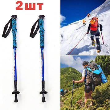 Палки трекинговые синего цвета турристические палки для скандинавской ходьбы телескопическая с фиксатором
