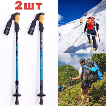 Палки трекинговые черно-синего цвета турристические палки для скандинавской ходьбы