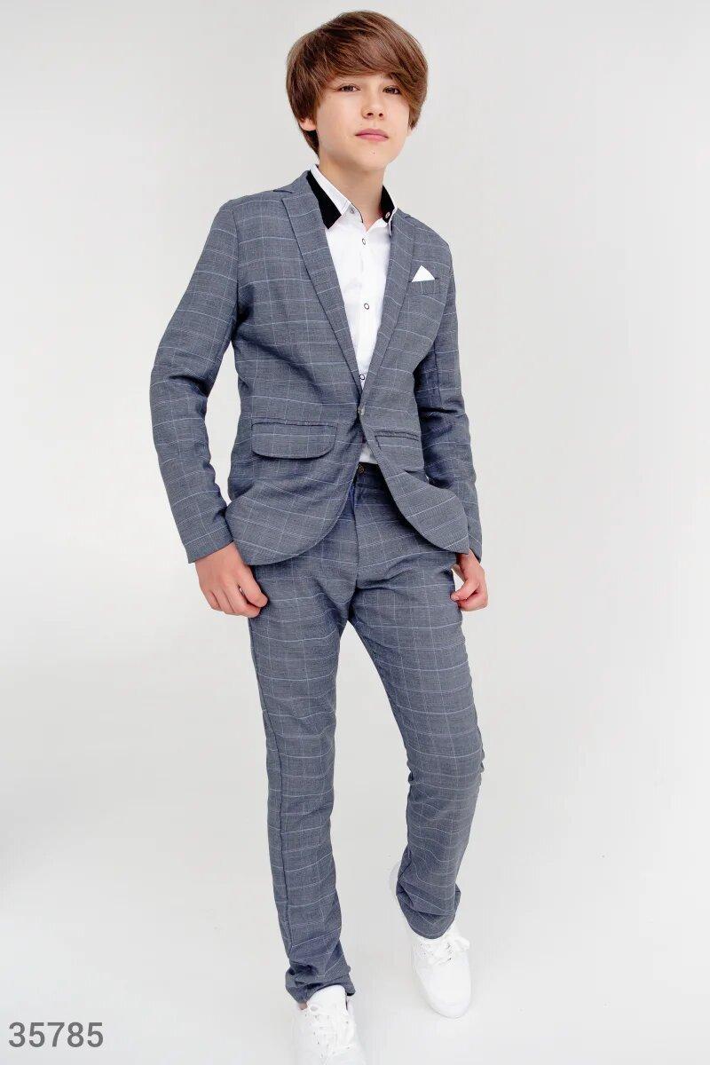 Серый костюм для мальчик,стильная клетка! 122,128, 134,140,146 рост