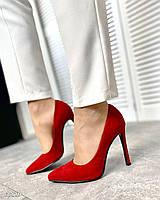 Шикарные замшевые туфли на шпильке 36-40 р красный, фото 1