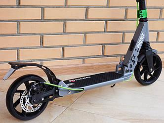 Самокат складной Maraton Phonix 200 c ручным дисковым тормозом, с большими колесами, c амортизаторами